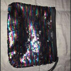 Victoria's Secret rainbow sequin make up bag